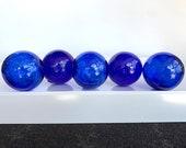 "Smallest Blue Glass Floats, Set of 5 Hand Blown Balls 2.5"" Decorative Garden Art or Interior Design Spheres, Cobalt Lapis, Avalon Glassworks"