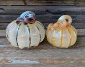 Beige Silver and Gold Glass Pumpkin, Set of Two Decorative Hand Blown Gourd Sculptures, Metallic Ribs & Stems, Autumn Art, Avalon Glassworks