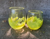Chartreuse Tulip Cups, Hand Blown Glass Drinking Glasses, Set of 2 Water Juice Stemless Wine Hand Made Glassware Drinkers, Avalon Glassworks