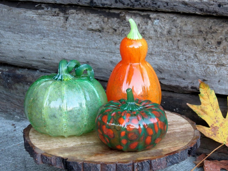 Green and Orange Glass Gourd Set of 3 with Tall Orange image 0