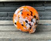 "Goldfish Float, 4.5"" Blown Glass Ball, Orange White Black Spot, Koi Pond Garden Art Decorative Sphere Interior Design Orb, Avalon Glassworks"