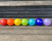 Primary & Bright Secondary Rainbow Blown Glass Floats, Set of 7 Small Decorative Balls Indoor Outdoor Colorful Garden Art, Avalon Glassworks