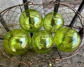 "Citron Green Glass Balls, Set of Five Floats, 3"" Hand Blown Garden Outdoor Art Spheres, Bright Transparent Lime Green, Avalon Glassworks"