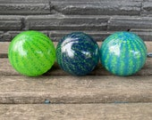 Blue and Green Floats, Set of Three Small Decorative Art Glass Balls, Nautical Pond Spheres Garden Art, Outdoor or Indoor, Avalon Glassworks