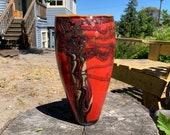 "Red Oak Vase, 12"" Hand Blown Glass Art Vase, Coral Red Brown Brach Pattern Sparkly Gold Leaves Orange Lip Wrap, Northwest, Avalon Glassworks"
