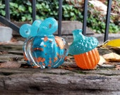 """Turquoise and Orange Mini Pumpkin and Acorn Combo, Solid Glass Paperweights 3"""" Decorative Art Squash and Acorn Sculptures, Avalon Glassworks"""