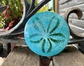 Turquoise Blue Glass Sand Dollar Sculpture, Table Decoration, Paperweight, Wedding Favor, Coastal Sea Life Seashell Decor, Avalon Glassworks