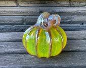 """Yellow Blown Glass Pumpkin, Transparent 4"""" Decorative Gourd Sculpture, Metallic Gold Ribs & Stem, Thanksgiving Centerpiece Avalon Glassworks"""