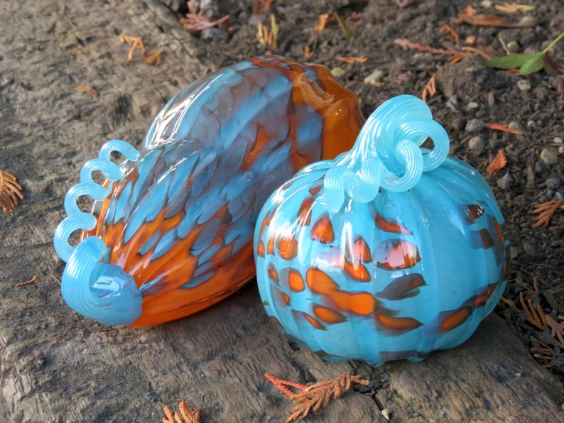 Pumpkin & Gourd Set Two Piece Turquoise and Orange Blown image 0
