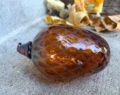 "Glass Pine Cone, 5"" Blown Glass Pinecone Sculpture, Transparent Iridescent Brown, Natural Autumn Decor Table Centerpiece, Avalon Glassworks"