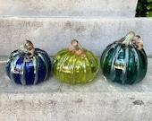 "Aqua Blue Green Glass Pumpkins, Set of Three 5"" Blown Glass Gourds Metallic Stems Ribs, Colorful Coastal Autumn Art Decor, Avalon Glassworks"