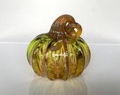 """Green Amber Gold Blown Glass Pumpkin, 4"""" Squash Gourd Sculpture Gold Ribs Coil Stem, Autumn Fall Halloween Art Centerpiece Avalon Glassworks"""