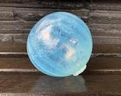 "Jellyfish Float, 4.25"" Light Blue Opalescent Hand Blown Glass Decorative Pond Ball Outdoor Art Orb Interior Design Sphere, Avalon Glassworks"