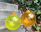 "Citrus Colors Hand Blown Glass Ornaments, Set of Two 3"" Yellow & Orange Diamond Facet Hanging Holiday Decor, Sun Catchers, Avalon Glassworks"
