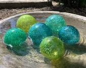 "Ocean Colors, Green Blue Speckled Glass Floats Set of Six 2.5""-3.5"" Hand Blown Decorative Garden Art Balls Outdoor Spheres Avalon Glassworks"