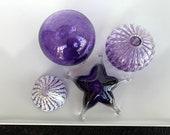 Purple Sea Life Set, 4 Aquatic Art Glass Sculptures, Sea Urchin Shell Vase, Blown Glass Float, Limpet, Sea Star Starfish, Avalon Glassworks