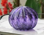"Purple Sea Urchin Shell Sculpture, 4"" Decorative Blown Glass Art Seashell, Controlled Bubble Pattern Transparent Amethyst, Avalon Glassworks"