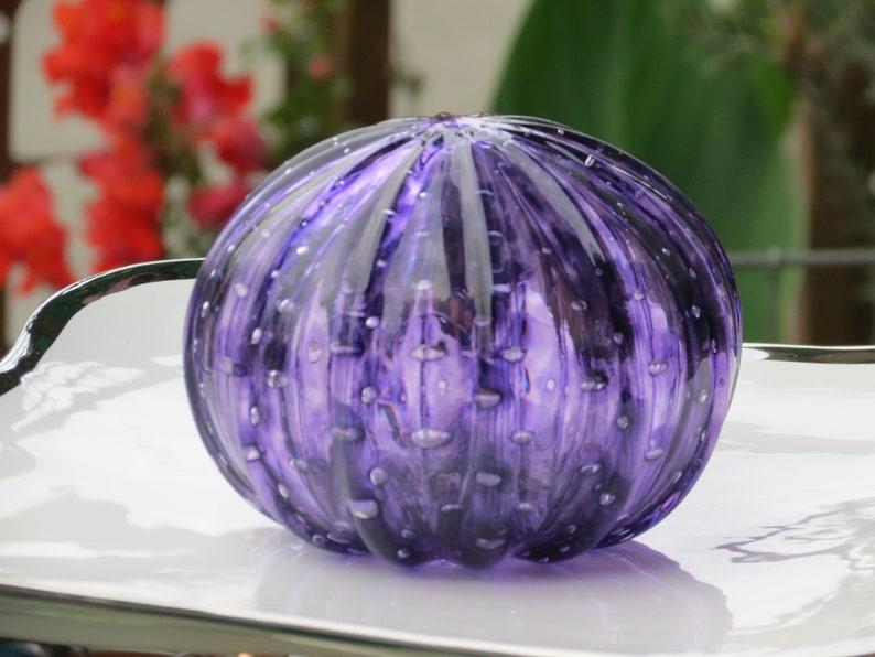 Purple Sea Urchin Shell Sculpture 4 Decorative Blown image 0