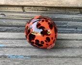 "Red and Burgundy Spot Float, 4.5"" Hand Blown Glass Garden Ball, Outdoor Art Decor, Interior Design, Floating Pond Sphere, Avalon Glassworks"