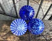 Blue and White Floats, Set of 3 Decorative Art Glass Balls, Nautical Pond Spheres Hand Blown Glass Garden Interior Design, Avalon Glassworks