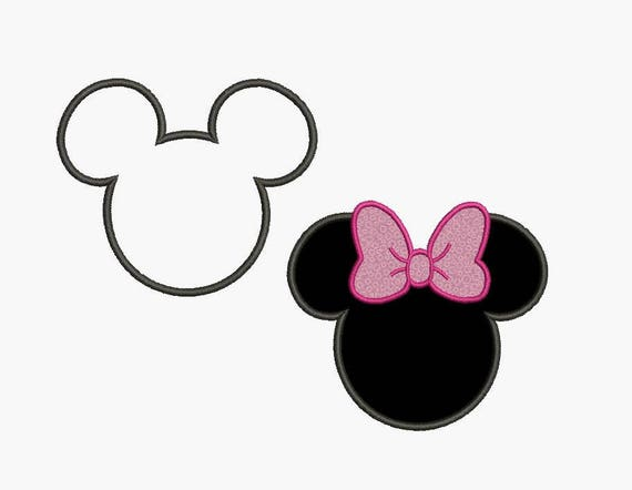 Mickey-Mouse-Ohren und Minnie Ohren Applikation Stickerei | Etsy