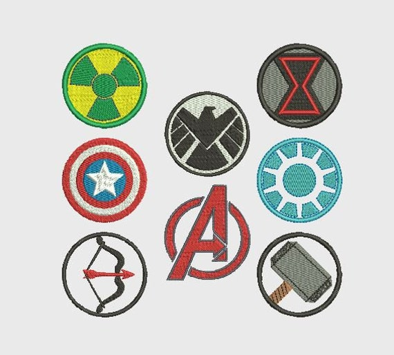 Avengers Symbols Complete Set Embroidery Files Download Etsy