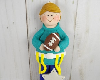 Gift for Flag Football Player - Flag Football Ornament - Football Christmas Ornament - Handmade Polymer Clay - Football Fan Gift -6312