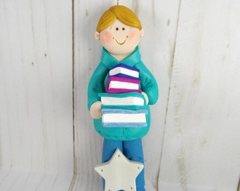Handmade Polymer Clay Male Librarian Christmas Ornament - Gift for Male Librarian - Male Library Teacher Ornament - School Ornament -638