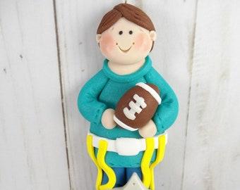 Flag Football Ornament - Gift for Flag Football Player - Football Christmas Ornament - Handmade Polymer Clay - Football Fan Gift -631