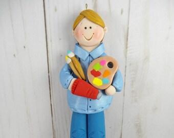 Male Art Teacher Christmas Ornament - Gift for Male Art Teacher - Male Artist Christmas Tree Ornament - Male Artist Gift -634