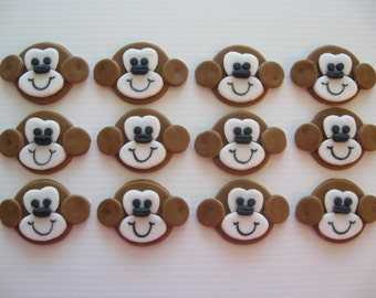 Monkey Cupcake Decorations - Edible Fondant Birthday Cupcake Toppers - READY TO SHIP