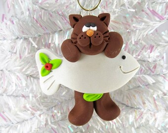 Cat Christmas Ornament -  Kitty Christmas Ornament -  Cat Lover Gift -  Cat Owner Gift - Golden Cat Ornament - Pet Ornament -113042