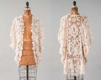 Antique Edwardian Battenberg Lace Cocoon Coat, Cream White Tape Lace Jacket, 1910 Edwardian Jacket