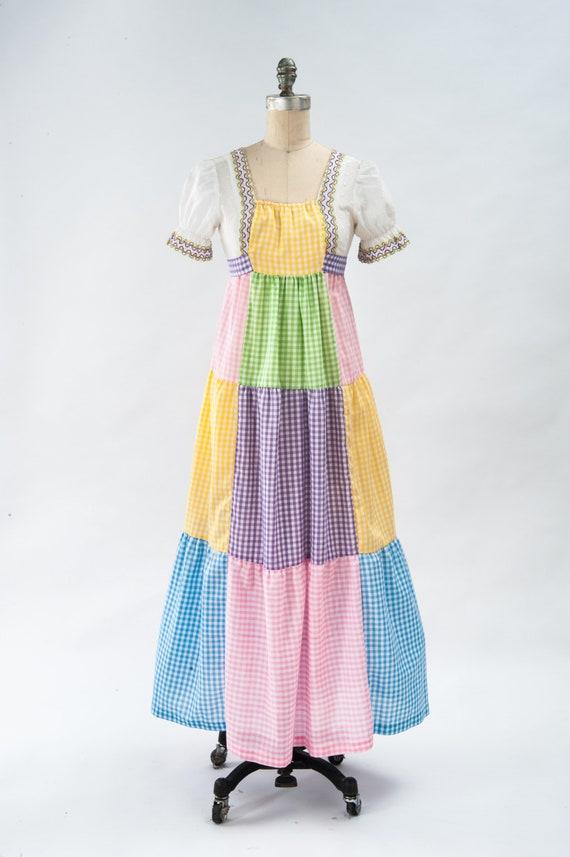Vintage Boho Patchwork Maxi Dress, 60s Mod Dress,… - image 2