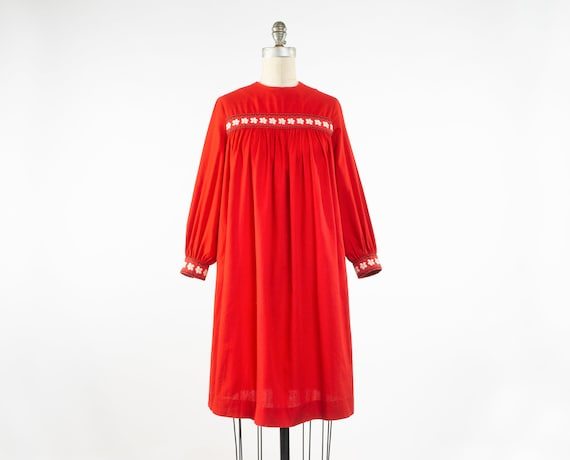 Vintage 1960s Red Cotton Smock Dress, 60s Embroide