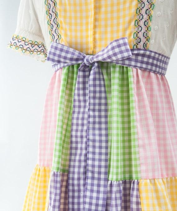 Vintage Boho Patchwork Maxi Dress, 60s Mod Dress,… - image 8
