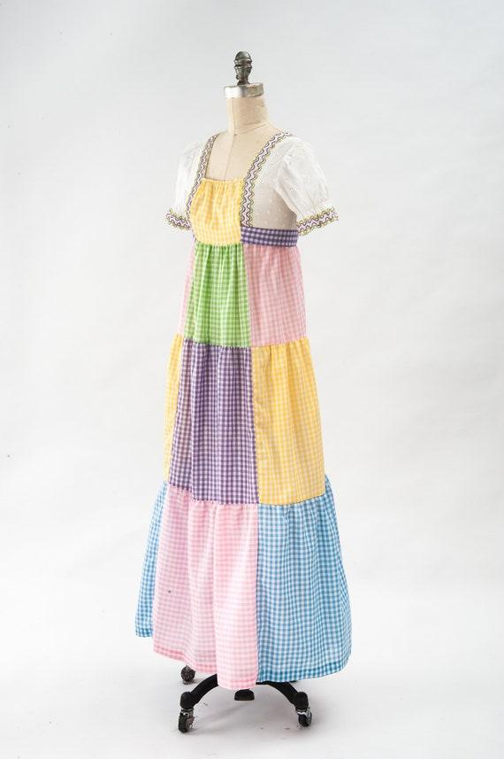 Vintage Boho Patchwork Maxi Dress, 60s Mod Dress,… - image 6