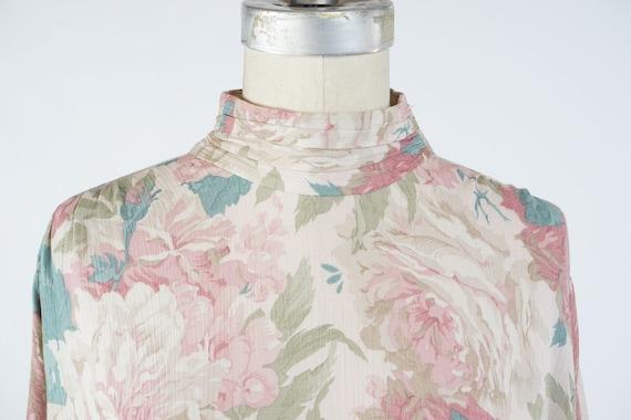 Vintage 1980s Floral Sheath Dress, Pale Pastel Fl… - image 4