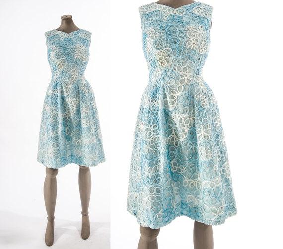 Vintage Ribbon Work Dress, Blue Ombre Ribbonwork D