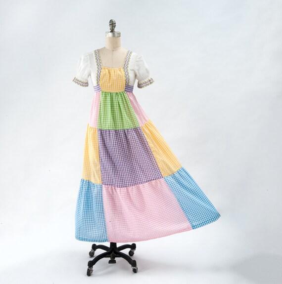 Vintage Boho Patchwork Maxi Dress, 60s Mod Dress,… - image 1