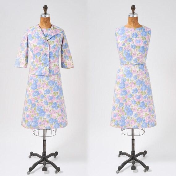 Vintage 1950s Floral Dress Set, 50s Rose Floral P… - image 1