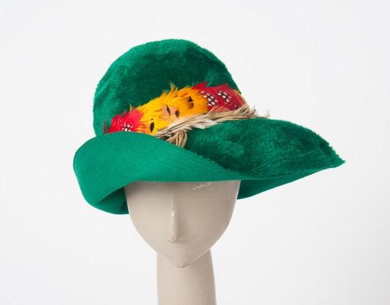 Vintage 1960s Green Fedora Hat, 60s Emme Designer