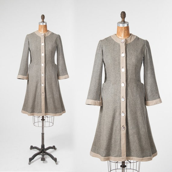 Vintage 1940s Gray Wool Princess Coat, Handmade 19