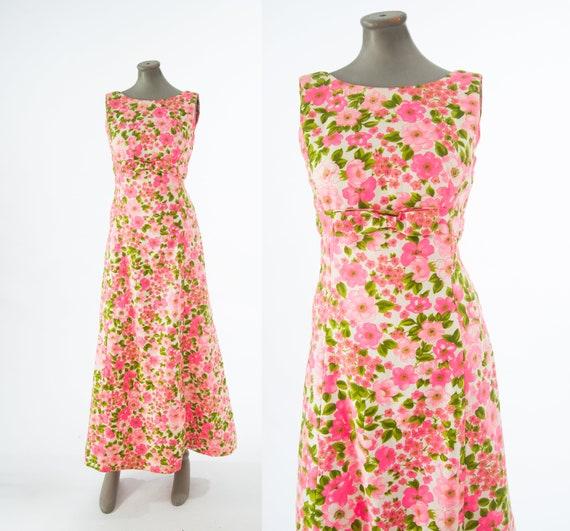 Vintage 1960s Floral Column Dress, 60s Floral Maxi