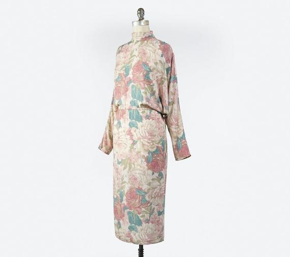 Vintage 1980s Floral Sheath Dress, Pale Pastel Fl… - image 3