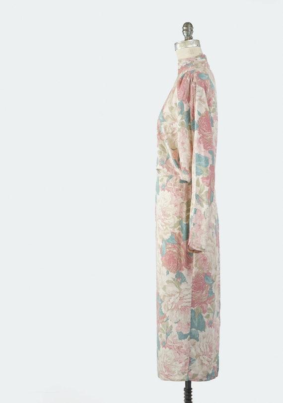 Vintage 1980s Floral Sheath Dress, Pale Pastel Fl… - image 5