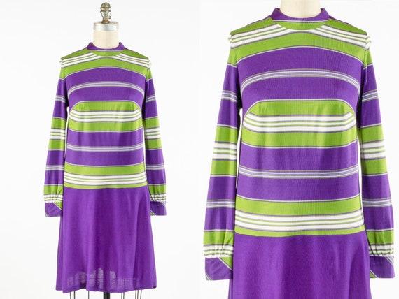 Vintage 1960s Mod Purple Striped Dress, Striped Kn