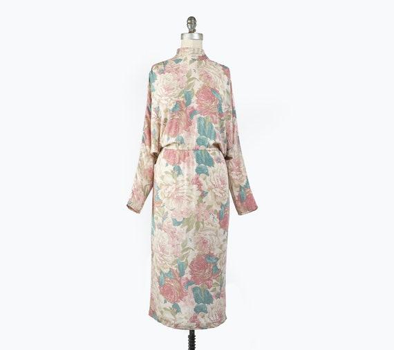 Vintage 1980s Floral Sheath Dress, Pale Pastel Fl… - image 2