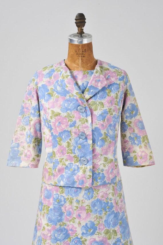 Vintage 1950s Floral Dress Set, 50s Rose Floral P… - image 5