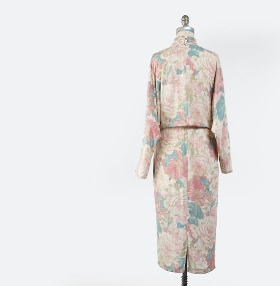 Vintage 1980s Floral Sheath Dress, Pale Pastel Fl… - image 6